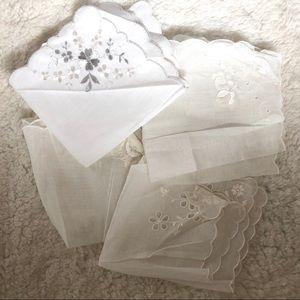 Lot of 15 vintage cotton embroidered hankerchiefs